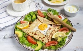 Картинка лимон, яичница, помидор, оливки, салат, авокадо, лаваш