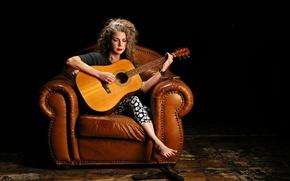 Обои музыка, женщина, гитара, Marynell