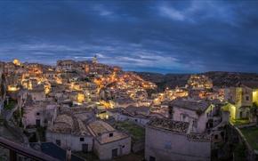 Картинка ночь, огни, дома, Италия, панорама, Матера