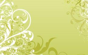 Обои белый, зеленый, узор, вектор, текстура, орнамент, Abstract, design, background