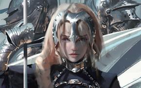 Картинка Девушка, Рисунок, Доспехи, Girl, Глаза, Рыцари, Аниме, Арт, Art, Anime, Eyes, Armour, Artist, Fate/Apocrypha, Художник, …