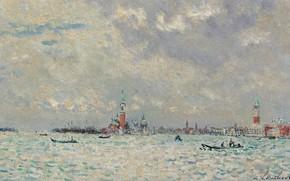 Картинка море, картина, Андре Гамбург, Andre Hambourg, Пасмурная Погода в Венеции, город