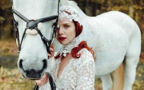 Картинка взгляд, девушка, настроение, конь, рыжая, рыжеволосая, белая лошадь