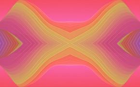 Картинка волны, линии, розовый