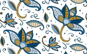 Обои batik, текстура, синий, style, цветы