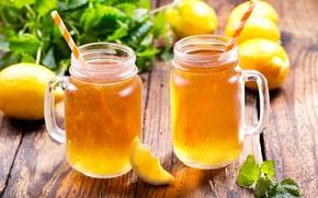 Картинка лёд, lemon, ice, summer, кружки, мята, лимоны, drink, cocktail, tea