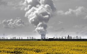 Картинка поле, природа, дым, труба