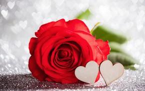 Картинка любовь, роза, сердечки, red, love, rose, красная, wood, romantic, hearts, bokeh, Valentine's Day, gift