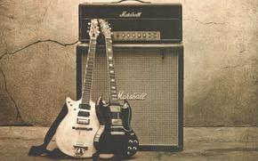 Картинка музыка, фон, стена, белое, гитара, черное, монитор, rock, рок, усилитель, трещина, Gibson, rock and roll, …