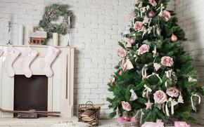 Картинка украшения, праздник, елка, свечи, Новый год, камин