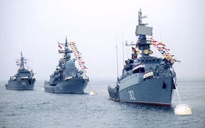 Картинка корабли, парад, вмф, флаги расцвечивания