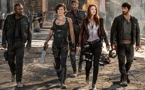 Обои оружие, фантастика, кадр, персонажи, Эли Лартер, Милла Йовович, ужасы, Milla Jovovich, Ali Larter, Resident Evil: ...