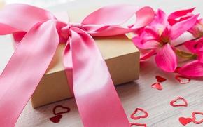 Картинка цветы, подарок, лента, сердечки, love, pink, flowers, romantic, hearts, sweet, gift, valentine`s day