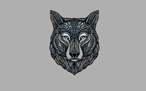 Картинка волк, минимализм, голова, светлый фон, wolf