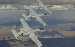 Картинка полет, три, штурмовик, A-10, Thunderbolt II, Тандерболт