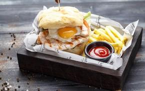Картинка яйцо, бутерброд, кетчуп, картофель фри