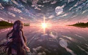Картинка вода, девушка, солнце, город, самолет, луна