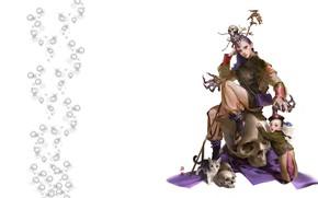 Картинка девушка, настроение, череп, арт, маг, посох, пет, mingzhu yang