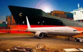 Картинка самолет, транспорт, корабль, порт, пассажирский, контейнера