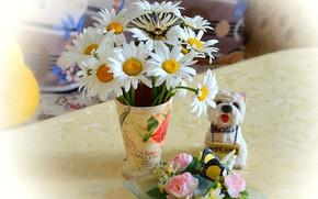 Картинка Весна, Ромашки, Ваза, Spring