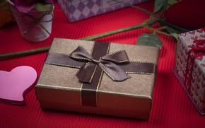 Картинка подарок, Праздник, бантик, цветы