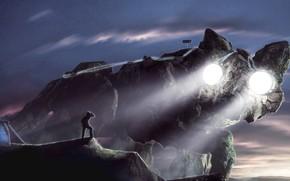 Картинка скала, человек, палатка, kitty colossus, Primal Colossus