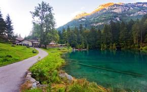 Картинка лес, деревья, горы, озеро, дом, камни, скалы, берег, Швейцария, дорожка, Kander Valley