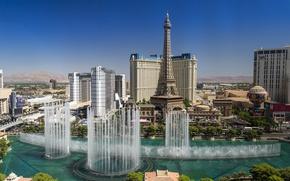 Картинка Лас-Вегас, США, Невада, фонтаны, Las Vegas, Nevada, The Strip