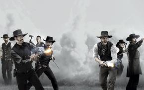 Обои Denzel Washington, Дензел Вашингтон, Chris Pratt, Крис Пратт, Великолепная Семерка, The Magnificent Seven