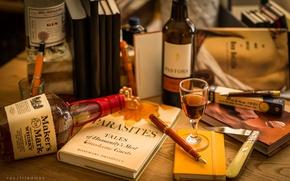 Картинка перо, ручка, книга, бутылки, натюрморт, виски, рюмка