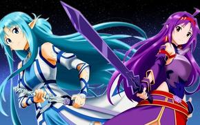 Картинка sword, game, armor, anime, fairy, ken, blade, MMORPG, asian, friends, manga, japanese, Yuuki Asuna, Sword …