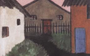 Картинка Dorfhauser, Otto Mueller, ca1928, дома, Экспрессионизм, трава