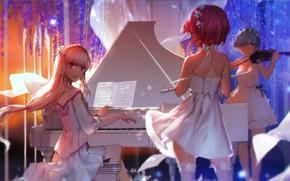 Картинка белый, ноты, скрипка, чулки, рояль, концерт, трио, флейта, белое платье, длинные волосы, ободок, глициния, стоит ...