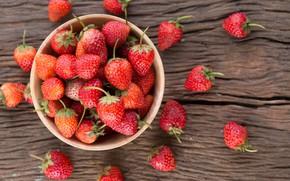 Картинка ягоды, клубника, красные, fresh, wood, спелая, sweet, strawberry, berries