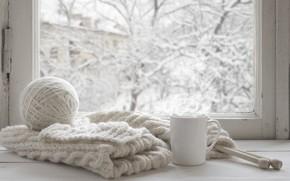 Картинка зима, снег, шерсть, шарф, окно, чашка, hot, winter, snow, cup, window, mug