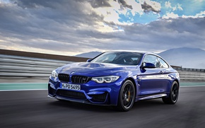 Обои BMW, sky, car, BMW M4 CS, blue, speed, asphalt, kumo, cloud
