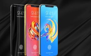 Картинка Apple, iPhone, gold, black, hi-tech, smartphone, tecnology, sylver, iPhone X