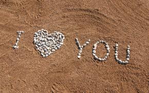 Картинка песок, пляж, лето, галька, камни, summer, love, beach, I love you, romantic, sand, pebbles