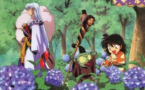 Картинка Rin, Inuyasha, Sesshomaru, Jakken