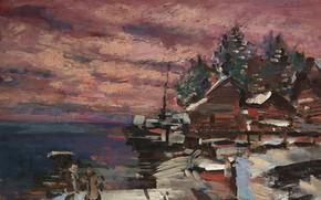 Картинка пейзаж, картина, импрессионизм, Константин Коровин, Деревня Зимой