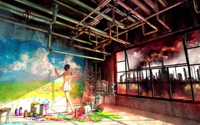 Картинка colorful, girl, wall, grass, sky, landscape, smoke, nature, anime, tubes, butterfly, flowers, factory, color, window, …