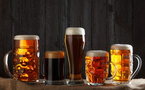 Картинка пена, свет, фон, пиво, стаканы, glass, beer
