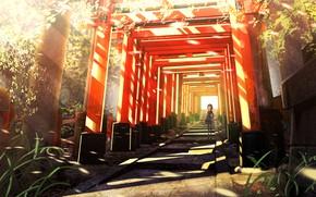 Картинка аниме, арт, коридор, девочка