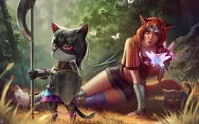 Картинка лес, кот, бабочка, арт, щит, уши, принцесса, защитник, секира