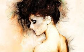 Обои шея, девушка, профиль, арт, прическа