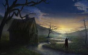 Обои фэнтази, облака, звезды, небо, меч, мужчина, природа. пейзаж, арт