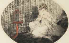 Картинка птица, клетка, 1925, арт-деко, офорт и акватинта, Луи Икар, Любимчик