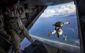 Картинка самолет, прыжок, парашют, USA, америка, сша, взлет, aircraft, America, parachute, takeoff, bounce