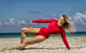 Картинка sexy, sand, blonde, pose