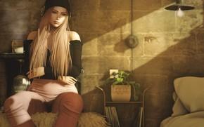 Картинка девушка, лицо, музыка, комната, наушники, сидит